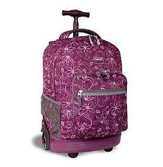 J World® Sunrise Love Purple Rolling Backpack