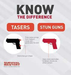 The difference between taser and stun guns infographic