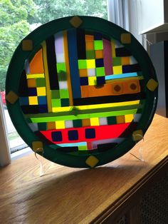Fused Glass Plate - Strip and Squares - Blue, Yellow, Green and more by LuxusKeibel on Etsy https://www.etsy.com/listing/245608940/fused-glass-plate-strip-and-squares-blue