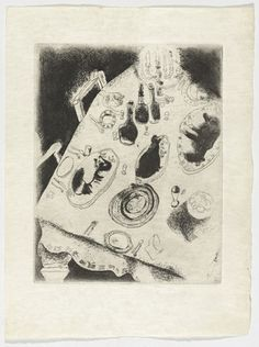 Marc Chagall. The Table Piled with Food (La Table chargée de victuailles), plate XXXV (supplementary suite) from Les Âmes mortes. 1923-48