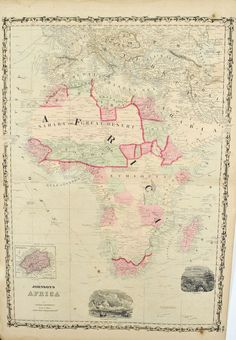 Africa Johnson Hand Colored Map 1860
