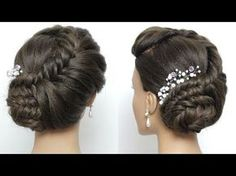 Braided Bridal Updo. Wedding Prom Hairstyle For Long Hair Tutorial - YouTube