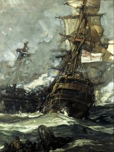 HMS Surprise:The Brunswick Caught Anchors With Her Enemy Frank Brangwyn