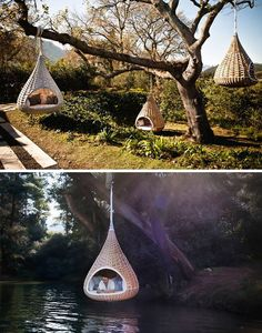 nestrest by dedon. also available in mini sizes for pets(Cool Chairs) Outdoor Spaces, Outdoor Living, Hanging Furniture, Nest Furniture, Backyard Furniture, Places To Travel, Places To Visit, Cool Tree Houses, Tree House Designs