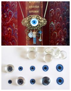 DIY Glass Eyeball jewelry Tutorial on the Cheap! ByCathe Holdenfrom Craftzine --The key is cheap flat backed gems ($ Store, Michaels, etc…)  you can print out eyeball photos at the link.