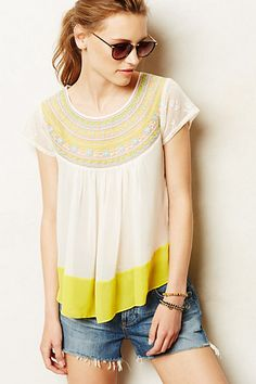 Suncup Blouse from Anthropologie. Shop more products from Anthropologie on Wanelo. Future Clothes, Blouse Outfit, Mellow Yellow, Pretty Outfits, Dress To Impress, Summer Outfits, Fashion Looks, Clothes For Women, My Style