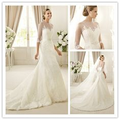 classic and modern white lace illusion neck a-line long sleevs wedding gowns with sleeves with chapel train ES06