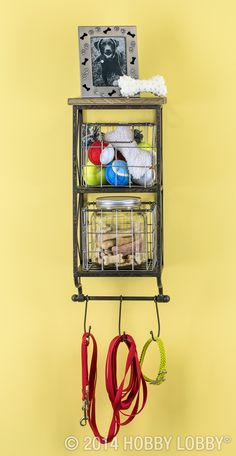 There just isn't a good, easily accessible spot to store your pup's treats, leash, toys and other knickknack paddywhacks—until now, that is. A vertical shelf with hooks and wire baskets makes a woof-worthy spot to stash all your doggie accessories.