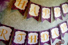 Ever After High Birthday Banner - DIY Happy Birthday Banner for E.A.H themed birthday party. Use printable template design, print on cardstock, cut out and hold together with string.