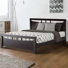 Give your bed an elegant makeover with the Bed Frame. With its distinctive dark cherry hues, the Bed Frame is a definite plus in transforming your bedroom into one with classic overtones. Wooden Dining Chairs, Wooden Bar Stools, Pillow Top Mattress, Queen Mattress, Wooden Storage Bench, Wooden Bed Frames, Contemporary Coffee Table, Home Living Room, Bedroom Furniture