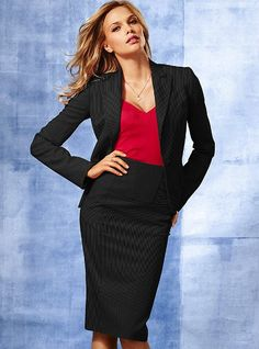 Tahari ASL Belted Pinstripe Skirt Suit. This career outfit is on ...