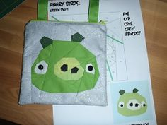 Angry Birds quilt block  Fandom In Stitches: Pigs and Pattern Designers