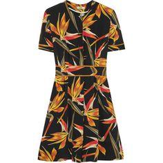 Fendi Bird Of Paradise printed silk-cady mini dress ($830) ❤ liked on Polyvore featuring dresses, fendi, gown, mini dress, black, fendi dress, silk dress, short a line dresses and snap dresses