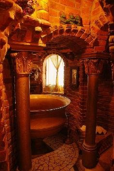 Wing Castle: The Bathroom; the whole castle is amazing. Peter Wing was a fan of Gaudi and it shows throughout the castle. Gothic Bathroom, Stone Bathroom, Bathroom Vintage, Bathroom Bath, Earthy Bathroom, Bath Room, Interior Architecture, Interior And Exterior, Interior Design