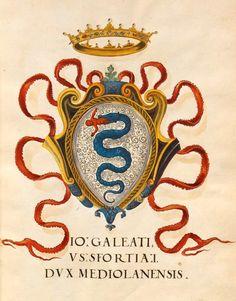 «Insigna pontificum Romanorum et cardinalium V. Insignia urbium Italiae septentrionalis: Nobilium Mediolanensium», [S.l.] Italien, Mitte 16. Jh. [BSB Cod.icon. 270] -- f°6r: Gian Galeazzo Sforza Visconti, Herzog von Mailand Wappen [Galeazzo Maria Sforza (1444-1476), Duke of Milan].