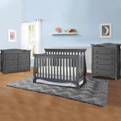 $819 Storkcraft Venetian 3 Piece Nursery Set - Convertible Crib, Avalon 5 Drawer Dresser and 6 Drawer Dresser in Gray - Click to enlarge