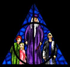 Dumbledore window by guad on DeviantArt -  Left: Aberforth and Ariana as kids, right Gellert Grindelwald, in a Deathly Hallow shaped window.