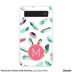 Watercolor Pattern with Pink Monogram Power Bank