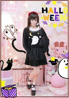 CREAM MADE originality does not give candy to make trouble little ghost long paragraph sweater dress cmc107- plush Taobao global Station