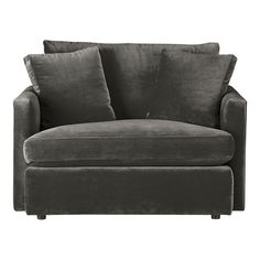 Comfy armchair--I wonder if the bottom pulls out to make a footrest.  The size is nice but would it seat two.  Can't tell.