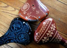 Hand-Carved Brooks Bicycle Saddles by Kara Ginther