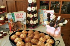 A book to go with each food item at a book-themed baby shower.