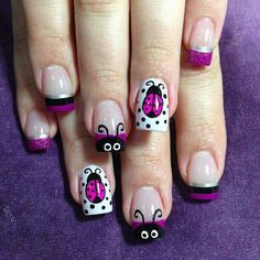 Lady Bugs by NailsliciousSpa - Nail Art Gallery by Nails Magazine Get Nails, Fancy Nails, Pretty Nails, Hair And Nails, Nails For Kids, Girls Nails, Spring Nail Art, Spring Nails, Summer Nails
