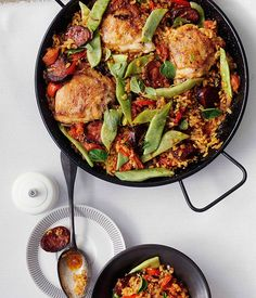 Australian Gourmet Traveller Spanish recipe for rice with chorizo and chicken.
