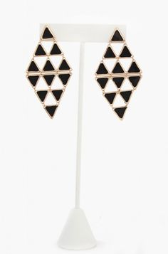 OMG Diamond Shape Cutout Earrings - Black