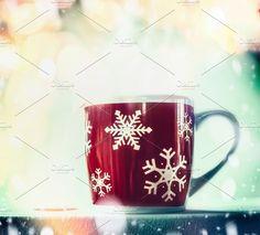 Red Snowflakes mug of tea by VICUSCHKA on @creativemarket