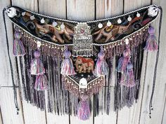 Tribal Fusion Belly Dance Tassel Belt in Velveteen Elephant Print with Long Fringe. $165.00, via Etsy.