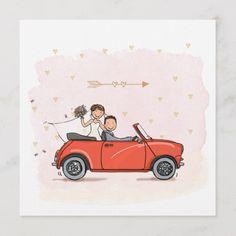 Wedding Day Cards, Wedding Album, Wedding Gifts, Wedding Logos, Wedding Invitations, Mini Cabrio, Cartoon Car Drawing, Just Married Car, Wedding Notebook