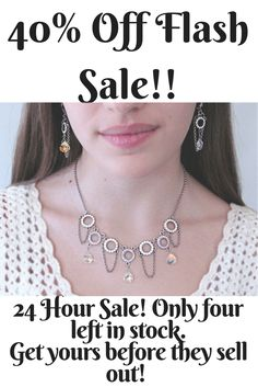 RachelFlamDesign Necklace and Earring Set - flash sale! 24 hour sale from 9 AM June 23 2017 till 9 AM June 24 2017. Get this now before it's gone! Link in my profile!