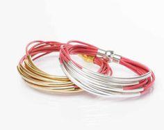 Items similar to Pastel Leather and Tube Bangle Wrap Bracelet on Etsy