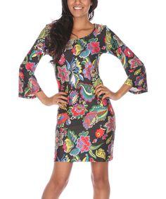 Black Multicolor Scoop Neck Dress