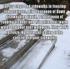 For that Southern snow this weekend - How to Remove Ice from Steps and Walkways Without Salt.