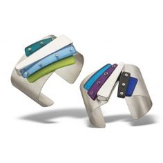 Striation Cuffs: Hand fabricated sterling silver, hand carved acrylic, gemstones.