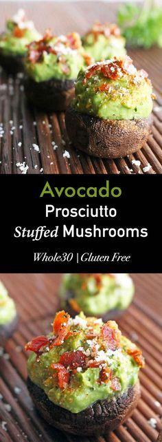 Avocado Prosciutto Stuffed Mushrooms - The Paleo Paparazzi