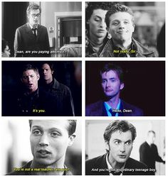 Superwho where Dean is a student with a very odd professor. ican actually picture this being a real thing unlike some superwho stuff. (*whispers* I read this fic and it was awesome. Virginia Woolf, Supernatural Fandom, Jensen Ackles Supernatural, Winchester Supernatural, Sam Winchester, Fandom Crossover, Bae, Fandoms Unite, Torchwood
