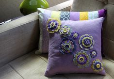 Yellow, Grey, and Purple Pillow Set