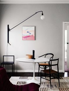 'Minimal Interior Design Inspiration' is a biweekly showcase of some of the most perfectly minimal interior design examples that we've found around the web - Interior Design Examples, Interior Design Inspiration, Design Ideas, Modern Interior, Color Inspiration, Design Design, Design Trends, Swing Arm Wall Lamps, Tulip Table