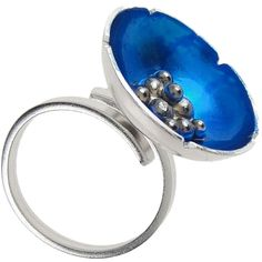 Sterling Silver Poppy Ring. Handmade rhodium plated sterling silver ring with blue cold enamel. Adjustable size.