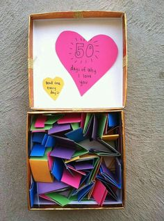 A Box Full Of Different Reasons You Love Your Man Cute Idea For Valentines Day Care Package