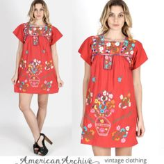 vtg 70s Boho Mexican Floral Embroidered Draped Hippie Festival Shift Mini Dress