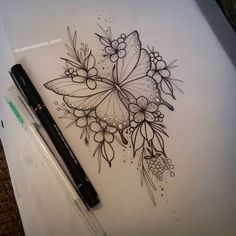 Picture could contain: Drawing - Tattoos - # could . - Tattoos - Tattoo Designs For Women Hand Tattoos, Body Art Tattoos, Sleeve Tattoos, Side Tattoos, Butterfly With Flowers Tattoo, Butterfly Tattoo Designs, Butterfly Mandala Tattoo, Butterfly Drawing, Butterfly Design