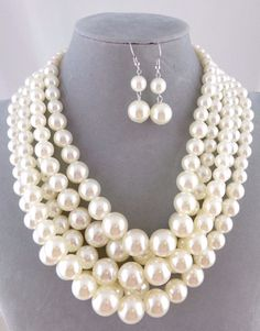 Chunky Layered Cream Pearl Necklace Set Silver Fashion Jewelry NEW #Passion