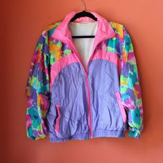 5e79c6b488bf Retro 80s pastel floral windbreaker. Really comfy inside and really  colorful on the outside! Depop