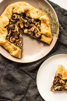 Creamy Mushroom Galette with yogurt, parmesan cheese, goat or cream cheese, and thyme