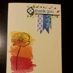 I made this Stampin Up Thank you card! #StampinUp #HappyWatercolor #Collorful #DIY