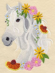 Horse in Wildflowers design (M4517) from www.Emblibrary.com